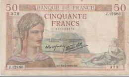 FRANCE  P. 85b 50 F 1940 B/TB - 1871-1952 Anciens Francs Circulés Au XXème