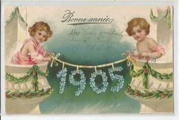 Cpa Anges Bonne Année 1905 Ange Balcon Carte Relief Gauffrée - Anges
