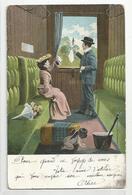 Cpa Petit Ange Se Cachant Couple Train Wagon Départ Mouchoir - Anges