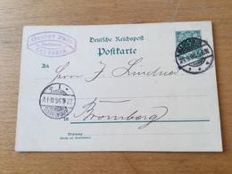 K9 Deutsches Reich Ganzsache Stationery Entier Postal P 36I Von Margonin Nach Bromberg - Allemagne