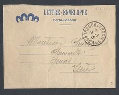 14-18 Lettre Enveloppe Porte Bonheur Avec Correspondance Secteur Postal 121 Simple Cercle Du 16 Mars 1917 - WW I
