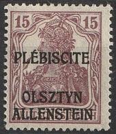 Allemagne Plébiscite Allenstein 1920 N° 4 MH Timbre Allemand Surchargé (G1) - Alemania