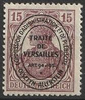 Allemagne Plébiscite Allenstein 1920 N° 18 MH Timbre Allemand Surchargé Traité De Versailles (G3) - Alemania