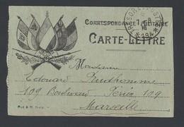 14-18 Carte -lettre Avec Correspondance Illustration 5 Drapeaux TAD  Secteur Postal 194 (Dardanelles) Du 7/8/1916 - Guerre De 1914-18