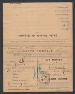 14-18 Carte  Postale Privée En  Franchise Militaire Avec Carte Réponse De Marseille 4/11/14 (Permissionnaire) Vers Paris - Guerre De 1914-18