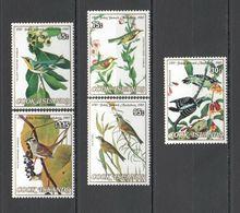 H005 1985 COOK ISLANDS FAUNA BIRDS AUDUBON 5ST MNH - Oiseaux