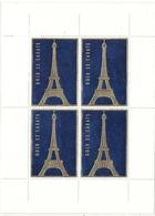 France Bloc De 4 Vignettes Tour Eiffel Bleue - Viñetas De Fantasía