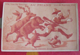 Chromo Au Friand, Homards Langoustes, Paris. Chromo Image. Vers 1880-1890. Chasseur Sanglier Cerf - Other