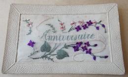 Carte Brodée Anniversaine - Embroidered