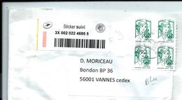Bloc De 4 Provenant D'un Carnet Lettre Verte - Sur LETTRE En Tarif SUIVI 2e échelon De Poids - Definitives