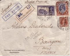 INDE - LETTRE DE PONDICHERY POUR LES ATELIERS DIEDERICHS A BOURGOIN  , CAD MUDALIARPET SOUTH ARCOT + RECOMMANDE - 1940 - Inde (1892-1954)