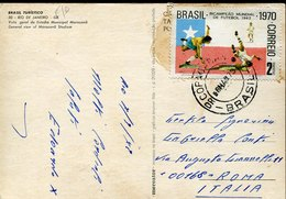53085 Brasil, Circuled Card 1973 With Stamp 2c. World Football Rimet Cup 1962 - Fußball-Weltmeisterschaft