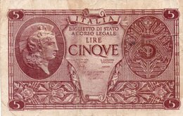 ITALIA 5 LIRE 1944 P-31c  Circ. - [ 1] …-1946: Königreich