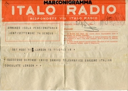53086 Italia, Marconigramma, (telegramma)  Italo Radio, 1933, Via Italo Radio Genova - Unclassified