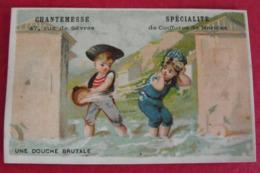 Chromo Salon De Coiffure Chantemesse, Paris. Chromo Image. Vers 1880-1890. Cabine De Plage, Douche Brutale - Other