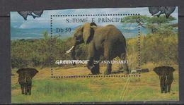 Greenpeace 1996 Sao Tome E Principe Elephant 1v From M/s  ** Mnh (46940A) - Elephants