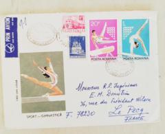 ROUMANIE Gymnastique, Gimnasia, 2 Valeurs  FDC, Enveloppe 1er Jour 1977 Ayant Circulé Vers LE PECQ  (2) - Gymnastics