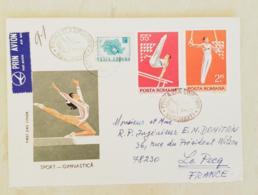 ROUMANIE Gymnastique, Gimnasia, 2 Valeurs  FDC, Enveloppe 1er Jour 1977 Ayant Circulé Vers LE PECQ  (3) - Gymnastics