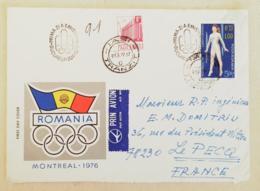 ROUMANIE Gymnastique, Gimnasia,J.O. MONTREAL 76. 2 Valeurs  FDC, Enveloppe 1er Jour 1976 Ayant Circulé Vers LE PECQ - Gymnastics