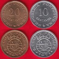 Sao Tome And Principe Set Of 2 Coins: 10 - 20 Centavos 1971 UNC - São Tomé Und Príncipe