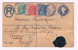 """PWS Met Geperforeerde Bijfrankering 1902 """"registered"""" Verstuurd Naar Angers (Fr)  Voor 6 Euro - Stamped Stationery, Airletters & Aerogrammes"""