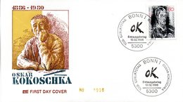 "BRD 2 Schmuck-FDC ""100. Geburtstag Von Oskar Kokoschka"" Mi. 1272 ESSt 13.2.1986 BONN 1 - FDC: Covers"