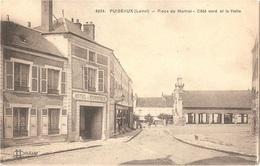 Dépt 45 - PUISEAUX - Place Du Martroi - Côté Nord Et La Halle - (Édit. L. Lenormand - Imp. Le Deley) - HÔTEL Du COMMERCE - Puiseaux