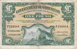 BILLETE DE GIBRALTAR DE 1 POUND DEL AÑO 1958  (BANKNOTE-BANK NOTE) - Gibraltar