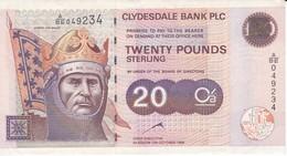 BILLETE DE ESCOCIA DE 20 POUNDS DEL AÑO 1999 CLYDESDALE BANK EN CALIDAD EBC (XF)(BANKNOTE) - [ 3] Escocia