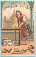 Belle Chromo Scapini, Biscuits Milanais. Jeune Femme Milanaise Pétrissant La Pâte. - Snoepgoed & Koekjes