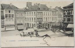 CPA FLEURUS Marché Grand'Place Magasin De Chaussures Café Hainaut - Fleurus