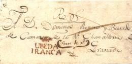"""D.P. 24. Extraordinario Frente De Plica Con La Marca """"ÚBEDA/FRANCA"""" (P.E. 4). Manuscrito Porteo 10 R.S. Única Pieza Cono - ...-1850 Vorphilatelie"""