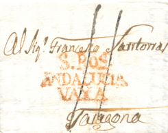 D.P. 25. 1804 (30 ABR). Carta De Gibraltar A Tarragona. Marca De San Roque Nº 3R. Bonita. - ...-1850 Prephilately