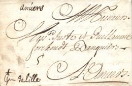 D.P. 26. 1707. Carta De Cádiz A Anvers (Bélgica). Sin Marcas Postales. Preciosa. - Spanje