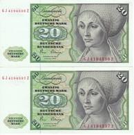 PAREJA CORRELATIVA DE ALEMANIA DE 20 MARK DEL AÑO 1980 EN CALIDAD EBC (XF)   (BANKNOTE) - [ 7] 1949-… : RFA - Rep. Fed. Tedesca