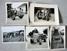 Lot De 5 Photo Tracteur Renault Case Massey Fergusson - Otros