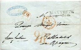 PREFILATELIA   Frontal  Mannheim  A Valladolid  1849 -  003 - España