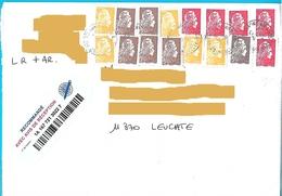 16 Marianne L'engagée Lettre Recommandée, 5 Lettre Prio, 5 à 0.10€, 1 à 0.05€, 5 à 0.01€ Cachets Manuels - 2018-... Marianne L'Engagée