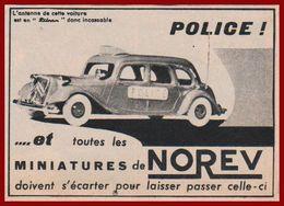 "Norev. Citroën 15-6 ""Traction"" Police. Voiture Miniature 1957. - Pubblicitari"