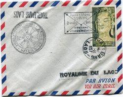 """LAOS LETTRE PAR AVION AVEC CACHET ILL """"VIENTIANE FETES DE LAN"""" + CACHET VIENTIANE JOUR D'EMISSION + THATLUANG 5-11-1957 - Laos"""