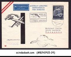 AUSTRIA - 1958 AUSTRIAN AIRLINES WARSAW To VIENNA - FFC - AUA-Erstflüge