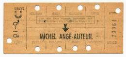 METRO PARISIEN // CARTE HEBDOMADAIRE // MICHEL ANGE-AUTEUIL - Europe
