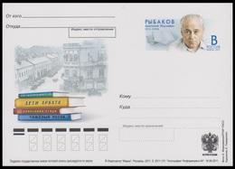 224 RUSSIA 2011 ENTIER POSTCARD Os 131 Mint RYBAKOV LITERATURE WRITER ECRIVAIN BOOK LIVRE BUCH PSo - Ganzsachen