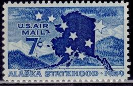 United States, 1959, Airmail, Alaska Statehood, 7c, Sc#C53, MNH - 2b. 1941-1960 Ungebraucht