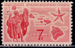 United States, 1959, Airmail, Hawaii Statehood, 7c, Sc#C55, MNH - 2b. 1941-1960 Ungebraucht