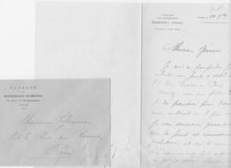 PARIS DUMESNIL TAVERNE DES BRASSERIES LETTRE DOUBLE ET ENVELOPPE ENTETE ANNEE 1920 - France