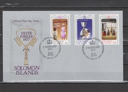 Solomon Islands 1977 Queen Elizabeth II Silver Jubilee Set Of 3 On FDC - Case Reali