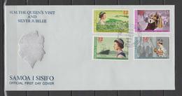 Samoa 1977 Queen Elizabeth II Silver Jubilee Set Of 4 On FDC - Case Reali