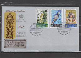 St. Christopher Nevis Anguilla 1977 Queen Elizabeth II Silver Jubilee Set Of 3 On FDC - Case Reali