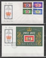 St. Lucia 1977 Queen Elizabeth II Silver Jubilee Set Of 4 + S/s On 2 FDC - Case Reali